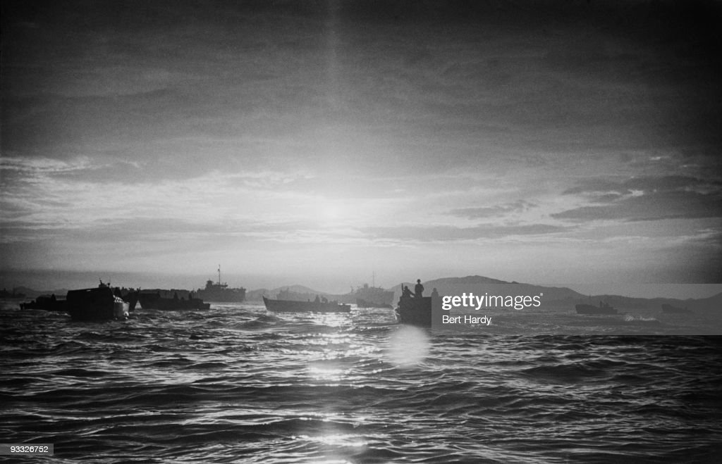 American assault craft moving towards the beach at Inchon South Korea during the Korean War September 1950 Original publication Picture Post 5086...