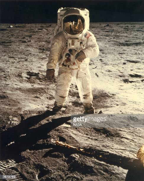 American astronaut Edwin 'Buzz' Aldrin walking near the Lunar Module on the moon