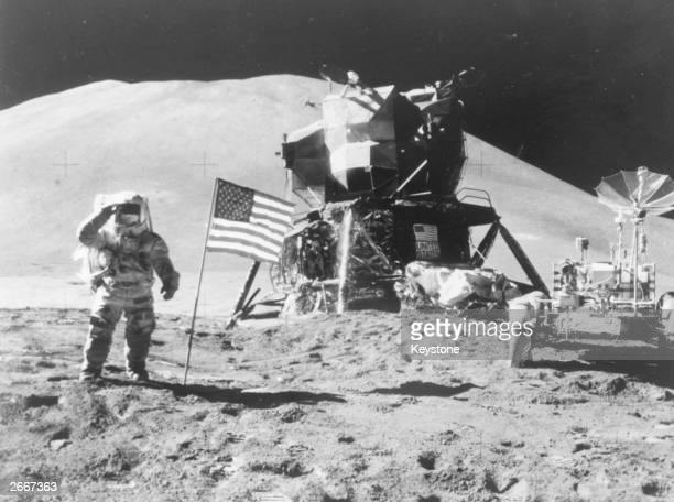 American astronaut Lieutenant Colonel James B Irwin saluting the Stars and Stripes at Hadley Base on the Moon during the Apollo 15 mission