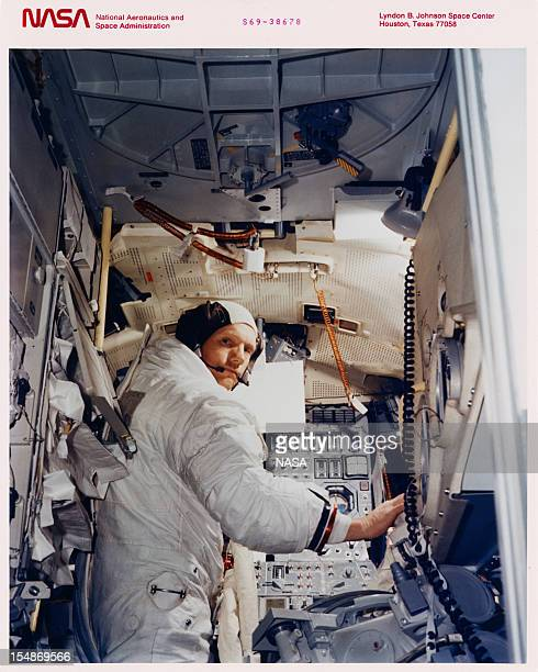 American astronaut Neil Armstrong commander of the Apollo 11 lunar mission in training in the Apollo Lunar Module Mission Simulator at the Kennedy...