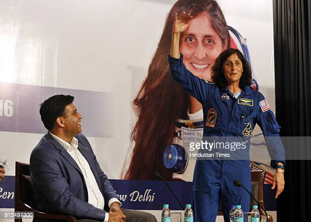 American Astronaut of Indian origin Sunita Williams during a conversation with Sachin Bahmba CMD Space at India Islamic Cultural Centre on February...