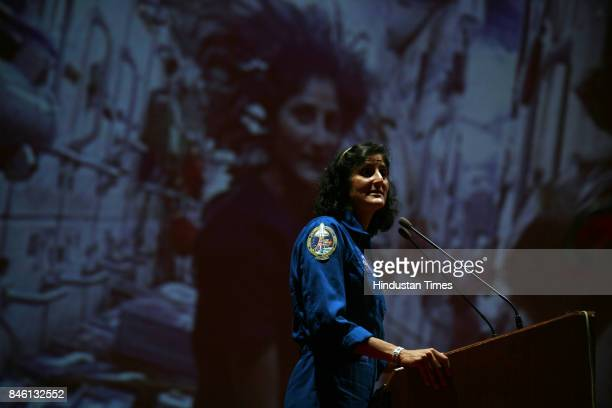 American Astronaut of Indian origin Sunita Williams speaks during a lecture to students of Indian Institute of Technology Powai in Mumbai Saturday