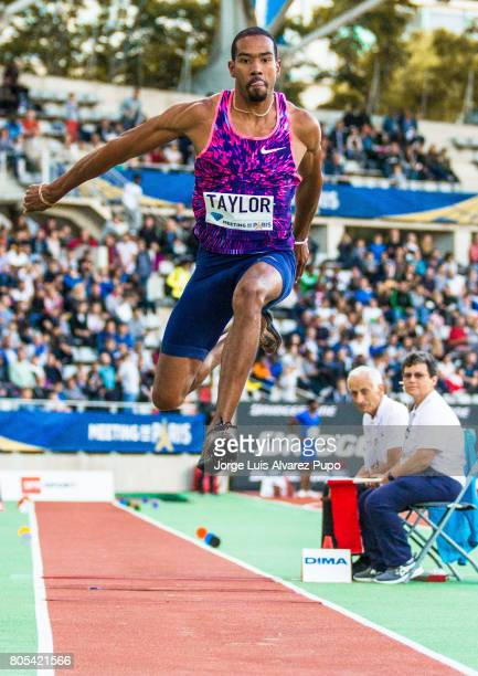 American athlete Christian Taylor jumps in the Triple Jump competition during Meeting de Paris of the IAAF Diamond League 2017 at Charlety Stadium on...