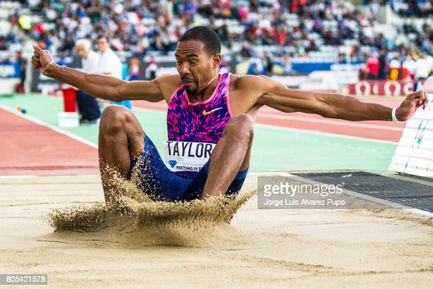 American athlete Christian Taylor lands into the sand pit in the Triple Jump during Meeting de Paris of the IAAF Diamond League 2017 at Charlety...