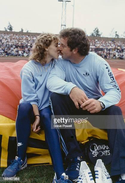American athlete Mary Decker with her partner British discus thrower Richard Slaney circa 1984