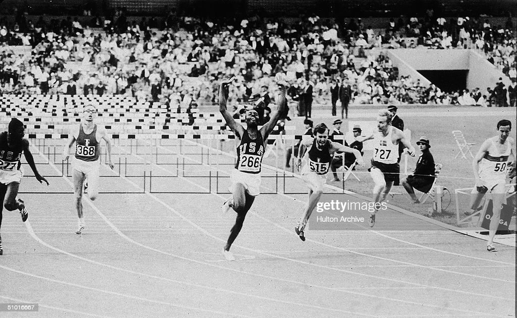 American athlete Willie Davenport (number 266) wins the 110 meter hurdle with a time of 13.3, setting an Olympic record, Mexico City, Mexico, late October 1968.