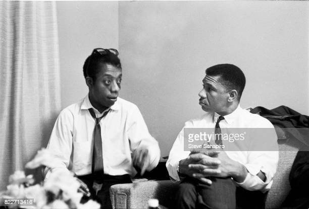 American author and activist James Baldwin speaks with Civil Rights activist Medgar Evers 1960s