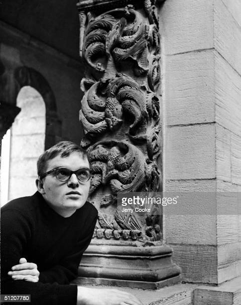 American author and celebrity Truman Capote leans on a stone block near an ornately carved column 1947 His first novel 'Other Voices Other Rooms' was...