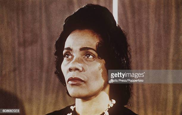 American author and civil rights leader Coretta Scott King widow of assassinated civil rights leader Martin Luther King Jr pictured at a press...