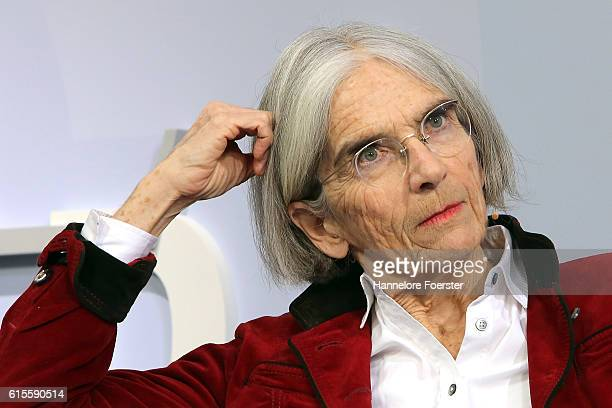 American author Donna Leon during an interview on the blue Sofa at the 2016 Frankfurt Book Fair on October 19 2016 in Frankfurt am Main Germany The...