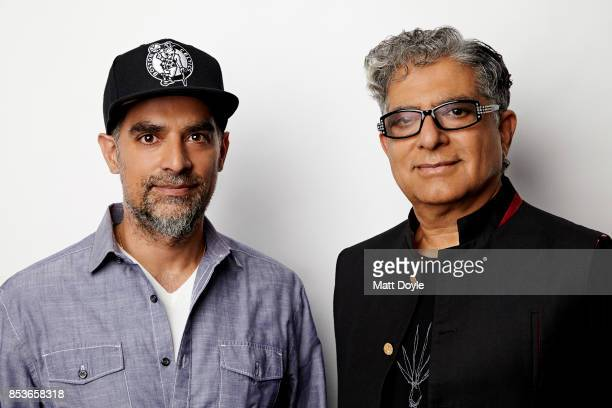 American author filmmaker and entrepreneur Gotham Chopra and american author and public speaker Deepak Chopra poses for a portraits at the Tribeca TV...