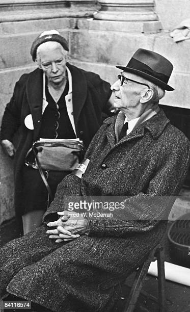 American author journalist and social activist Dorothy Day sits with Dutchborn American social and political activist AJ Muste at an AntiDraft...