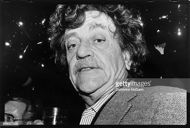 American author Kurt Vonnegut Jr poses for a photo in April 1988 at a party for the 25th anniversary of Elaine's restaurant in New York City New York