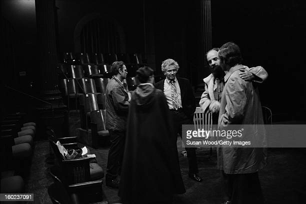 American author Norman Mailer visits the set of a production of the play 'The Kitchen' starring actor Rip Torn and directed by playwright and theatre...
