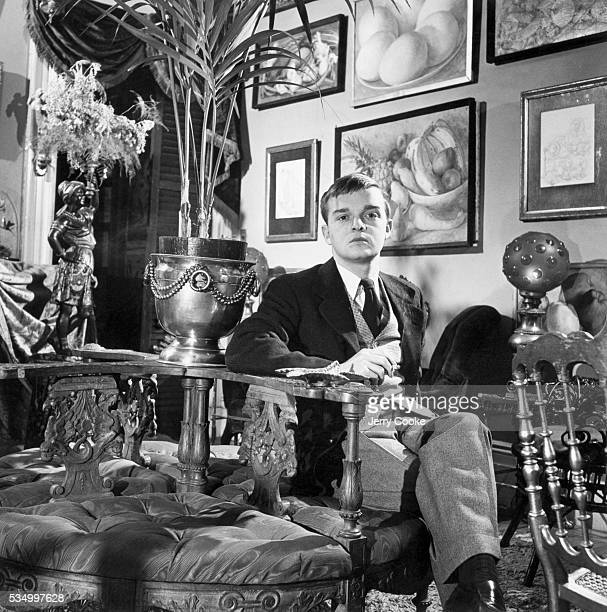 American author Truman Capote in his New York apartment