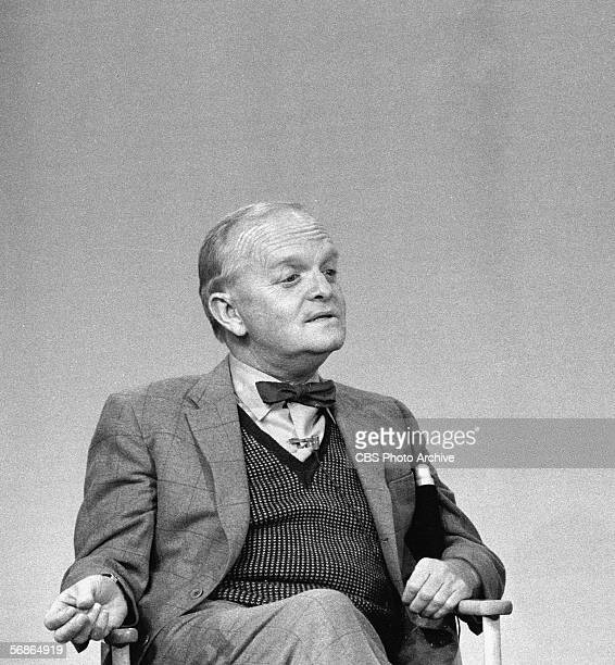 American author Truman Capote sits in a chair and talks as a guest on a talk show November 21 1978