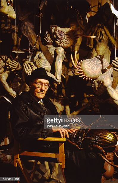 American author William Burroughs on the set of Canadian director David Cronenberg's movie The Naked Lunch loosely based on William Burroughs'...