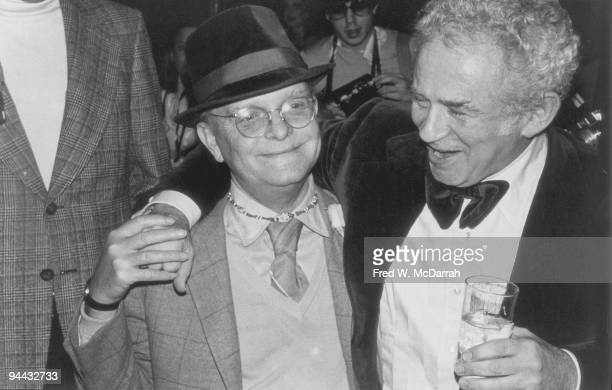American authors Truman Capote and Norman Mailer share a laugh at a party New York New York March 21 1978 The party was held in honor of the...