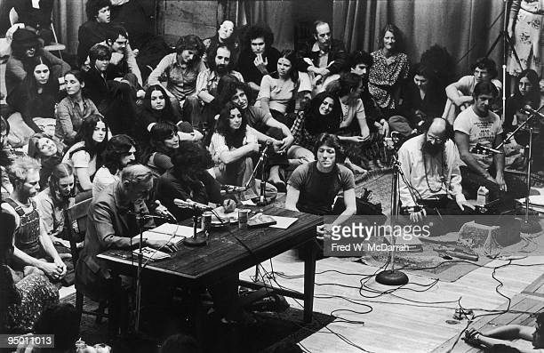 American authors William S Burroughs and Gregory Corso read from an event at Columbia University New York New York April 17 1975 The event was a...