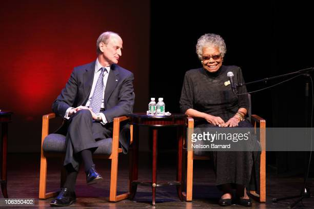 American autobiographer and poet Dr Maya Angelou visits The Schomburg Center for Research in Black Culture to announce the acquisition of documents...
