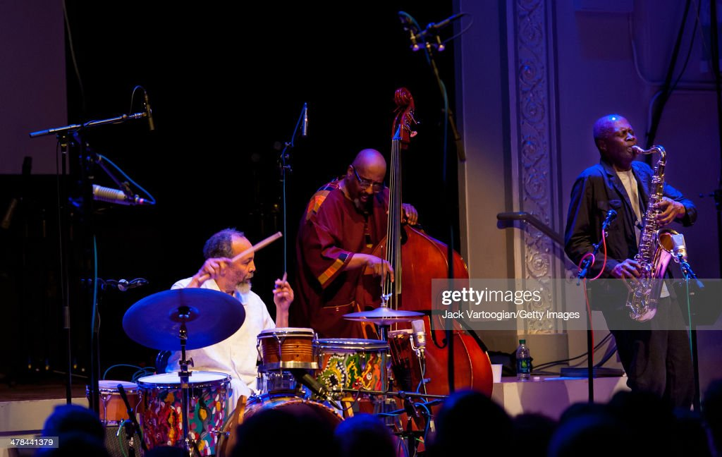 American avant-garde and free jazz drummer and percussionist Milford Graves (left) leads the NY HeArt Ensemble at the Vision Festival 18 'Milford Graves--A Life-Time of Achievement' concert at Roulette in Brooklyn, New York, New York, June 12, 2013. With him are <a gi-track='captionPersonalityLinkClicked' href=/galleries/search?phrase=William+Parker+-+Musician&family=editorial&specificpeople=15370335 ng-click='$event.stopPropagation()'>William Parker</a> on upright acoustic bass and Charles Gayle on tenor saxophone.