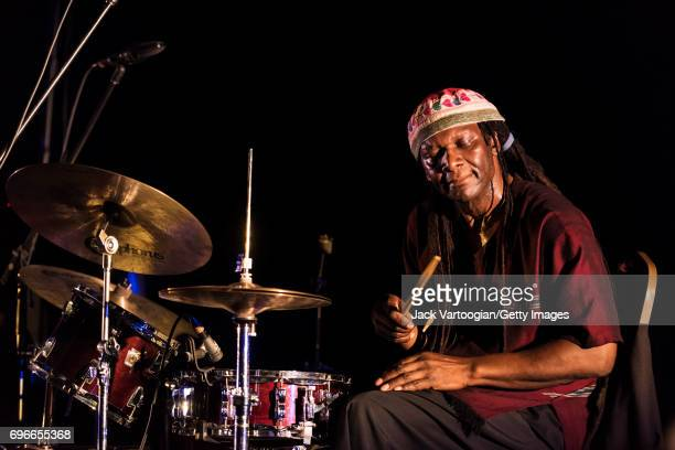 American AvantGarde Free Jazz musican Hamid Drake plays drums with the group In Order to Survive during 'Vision Festival 22 Free Jazz Festival for a...