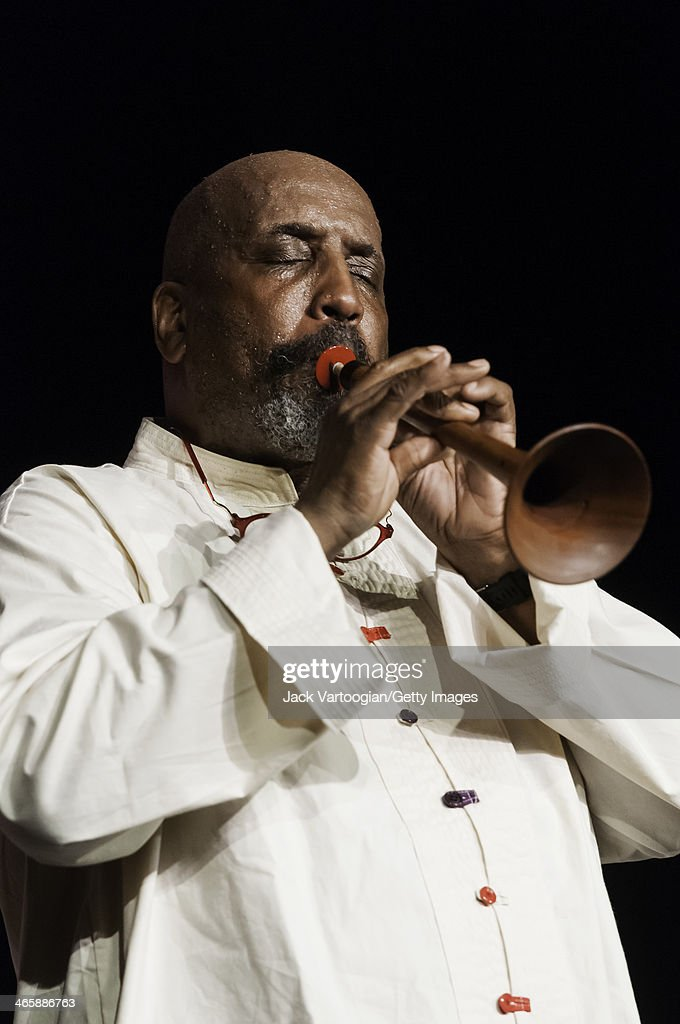 American Avant-Garde Jazz musician <a gi-track='captionPersonalityLinkClicked' href=/galleries/search?phrase=William+Parker+-+Musician&family=editorial&specificpeople=15370335 ng-click='$event.stopPropagation()'>William Parker</a> plays zurna (a Middle Eastern woodwind horn) with the Billy Bang Tribute Band on the closing night of Vision Festival 16 'Take A Stand' in the Playhouse Theater at Abrons Art Center, New York, New York, June 11, 2011.