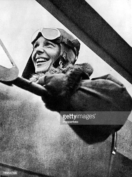 American aviation pioneer Miss Amelia Earhart 1898 1937 the first woman to fly across the Atlantic Ocean pictured in her plane before a flight