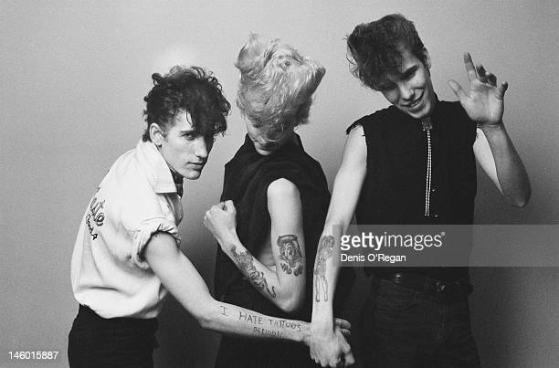 American band Stray Cats circa 1980 From left to right they are bassist Lee Rocker guitarist and singer Brian Setzer and drummer Slim Jim Phantom
