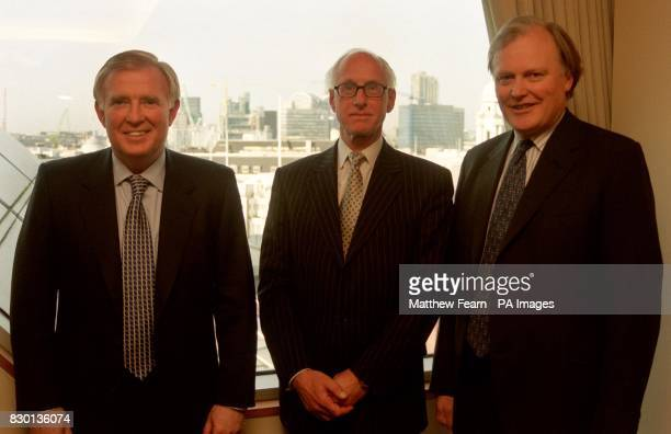 American banking executive Mike O Neill Barclays acting chief executive Sir Peter Middleton and chairman Andrew Buxton during a photocall in London...