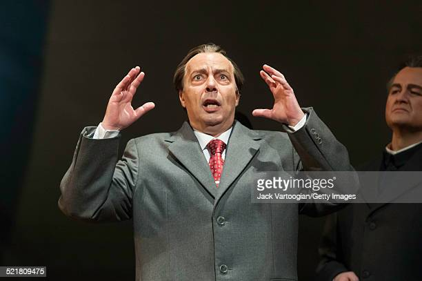 American baritone James Maddalena performs in the Metropolitan Opera/Peter Sellars production of 'Nixon in China' at the final dress rehearsal prior...
