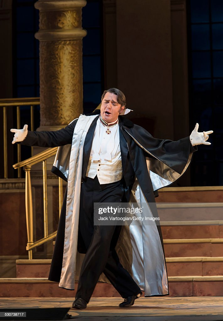 American baritone Nathan Gunn performs at the final dress rehearsal prior to the premiere of the new Metropolitan Opera/Susan Stroman production of...
