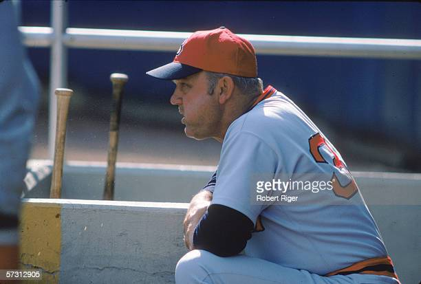 American baseball coach manager and former professional baseball player Don Zimmer manager for the Boston Red Sox chews on a wad of chewing tobacco...
