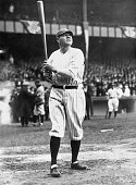 American baseball player 'Babe' Ruth looks up while batting for the New York Yankees during a game April 9 1925