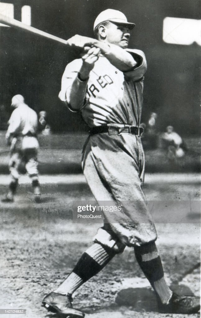 American baseball player Babe Ruth of the Boston Red Sox swings a baseball bat 1918
