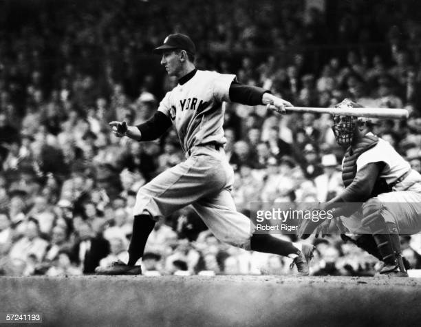 American baseball player Billy Martin of the New York Yankees at bat 1950s