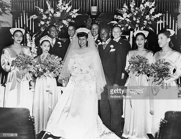 American baseball player Jackie Robinson marries Rachel Isum at the Independent Church in Los Angeles 10th February 1946