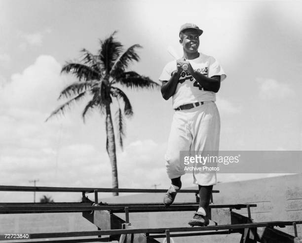 American baseball player Jackie Robinson of the Brooklyn Dodgers in Miami Florida circa 1950