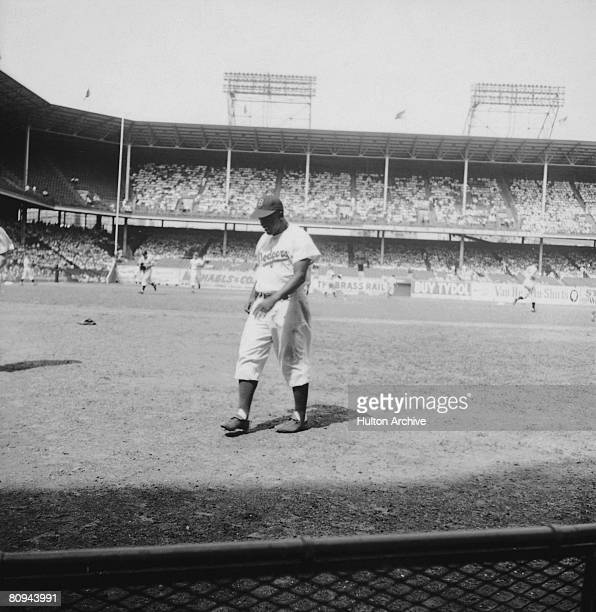 American baseball player Jackie Robinson playing for the Brooklyn Dodgers 28th August 1949
