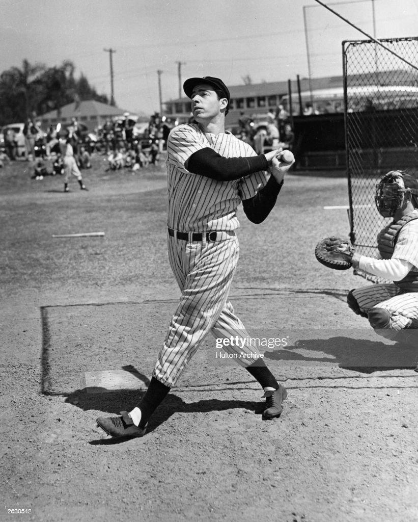 American baseball player Joe DiMaggio hits a belter circa 1948