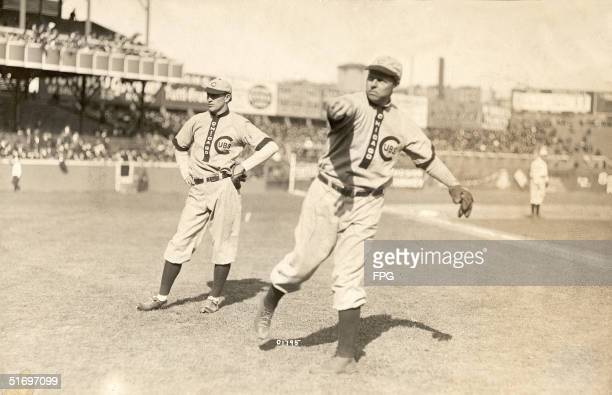 American baseball player Mordecai Brown pitcher for the Chicago Cubs from 1903 to 1912 tosses out a pitch before a game 1900s Nicknamed 'Miner' by...