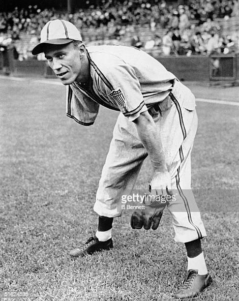 American baseball player Pete Gray outfielder for the St Louis Browns waits for a ball in left field 1945 Gray who lost his right arm in a childhood...