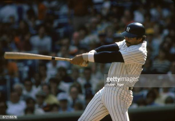 American baseball player Reggie Jackson of the New York Yankees swings at a pitch during a home game Yankee Stadium the Bronx New York September 1978