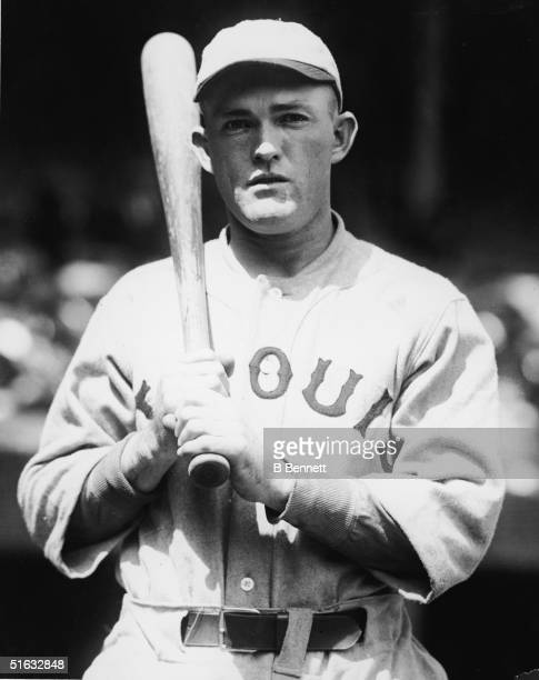 American baseball player Rogers Hornsby second baseman for St Louis Cardinals poses with his bat 1921