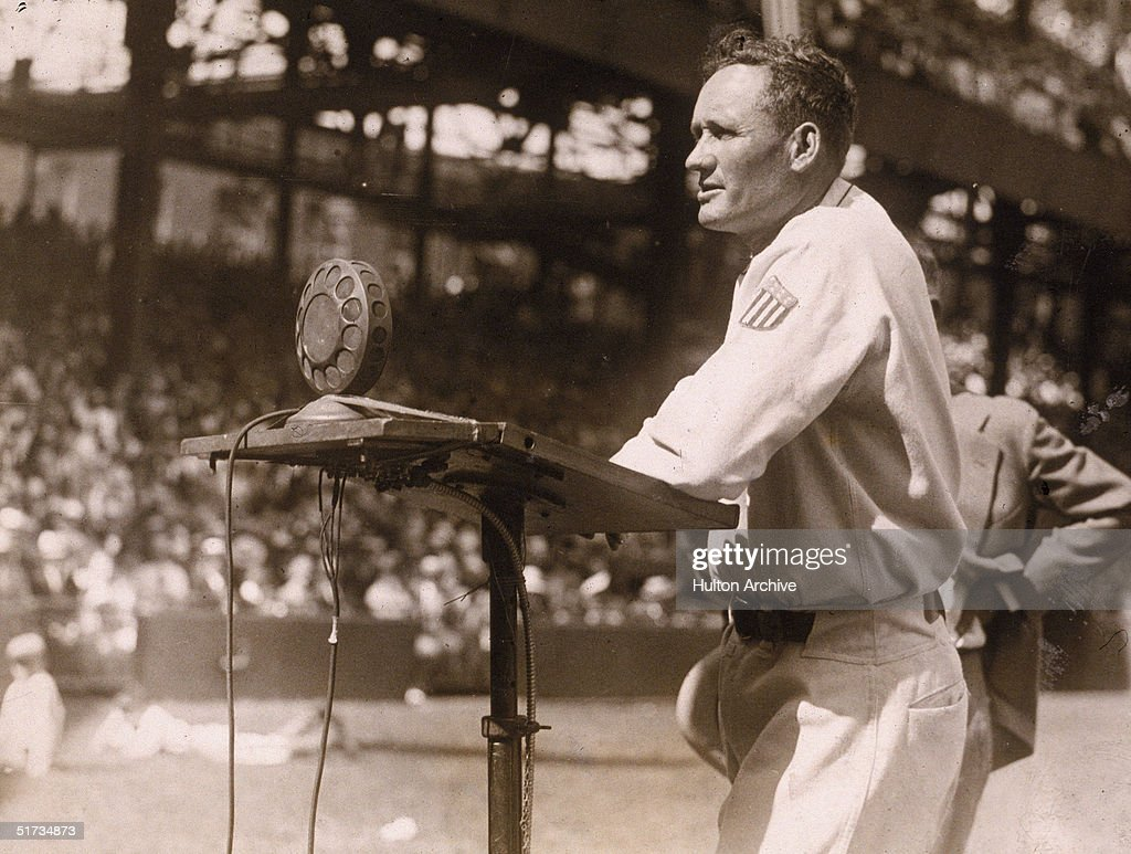 American baseball player Walter Johnson pitcher for the Washington Sentors makes a speech during the celebration of his 20th year with the team at...
