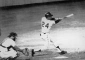 American baseball player Willie Mays of the San Francisco Giants hits the ball that become his 600th career home run during a game against the San...
