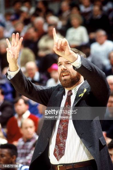 American basketball coach PJ Carlesimo of Seton Hall University gestures from the sidelines during a game against the University of Connecticut...