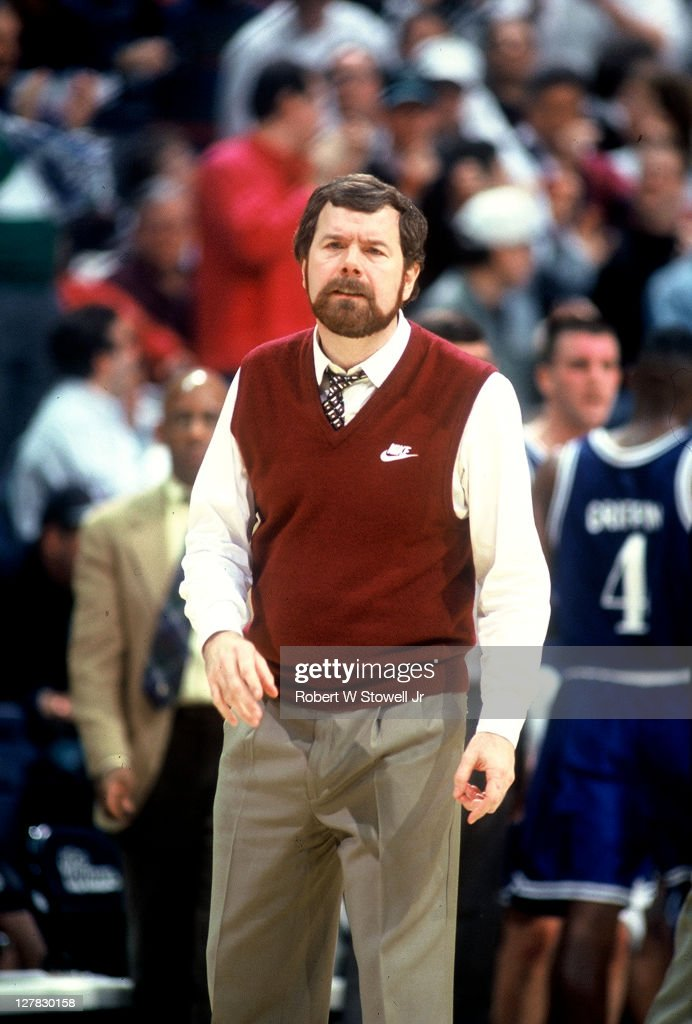 American basketball coach PJ Carlesimo of Seton Hall University on the sidelines during a game against the University of Connecticut Hartford...