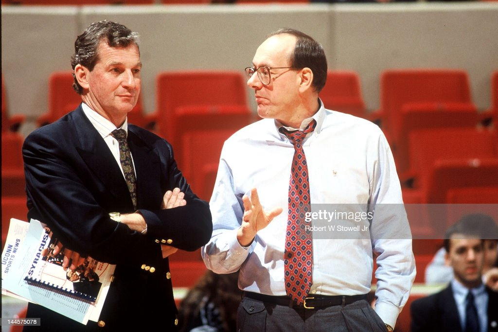 American basketball coaches <a gi-track='captionPersonalityLinkClicked' href=/galleries/search?phrase=Jim+Calhoun&family=editorial&specificpeople=208977 ng-click='$event.stopPropagation()'>Jim Calhoun</a> (left), of the University of Connecticut, and <a gi-track='captionPersonalityLinkClicked' href=/galleries/search?phrase=Jim+Boeheim&family=editorial&specificpeople=210990 ng-click='$event.stopPropagation()'>Jim Boeheim</a>, of Syracuse University, talk before a game, Hartford, Connecticut, 1990.