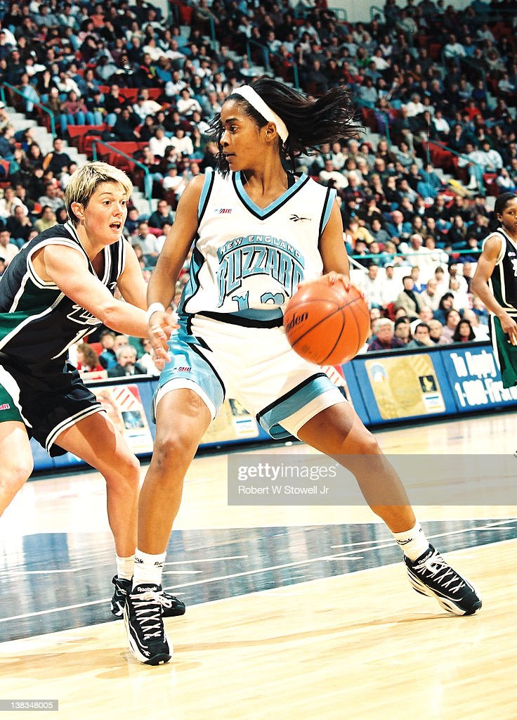 American basketball player Carolyn Jones of the New England Blizzard with the ball during a game against the Portland Power Hartford Connecticut 1997